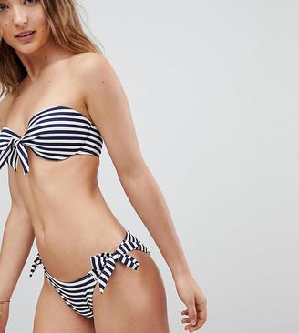 New Look Textured Bikini Bottoms-Blue