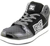 DC University Mid Women Round Toe Leather Black Skate Shoe.
