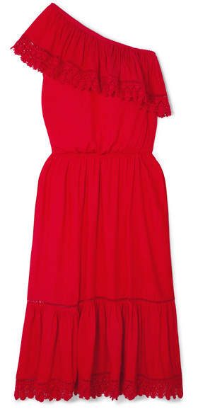Melissa Odabash Jo One-shoulder Crochet Lace-trimmed Voile Midi Dress - Red