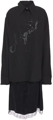 MM6 MAISON MARGIELA Layered Glittered Wool-crepe Ad Satin Midi Dress