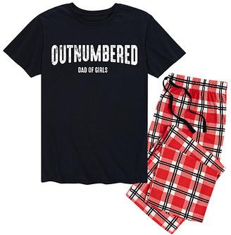 Nap Chat Men's Sleep Bottoms BLACK|RED - Black & Red Plaid 'Outnumbered Dad of Girls' Pajama Set - Men