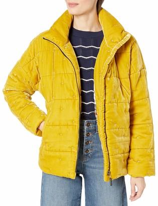 Johnny Was Women's Silk Blend Velvet Mustard Yellow Puffer Jacket