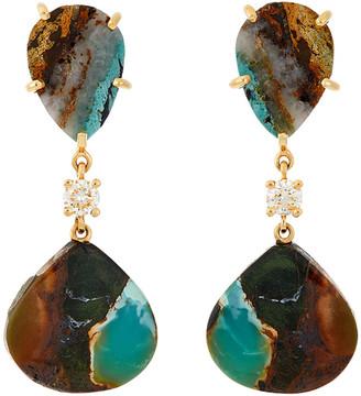 Jan Leslie 18k Bespoke 2-Tier Tribal Luxury Earrings w/ Tibetan Turquoise & Diamonds