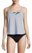 Splendid Two-Piece Striped Tankini and Printed Bandeau Bikini Top Set