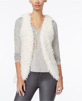 Belle Du Jour Juniors' Faux-Fur Vest, T-Shirt and Necklace Set