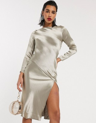 ASOS DESIGN long sleeve cowl back midi dress