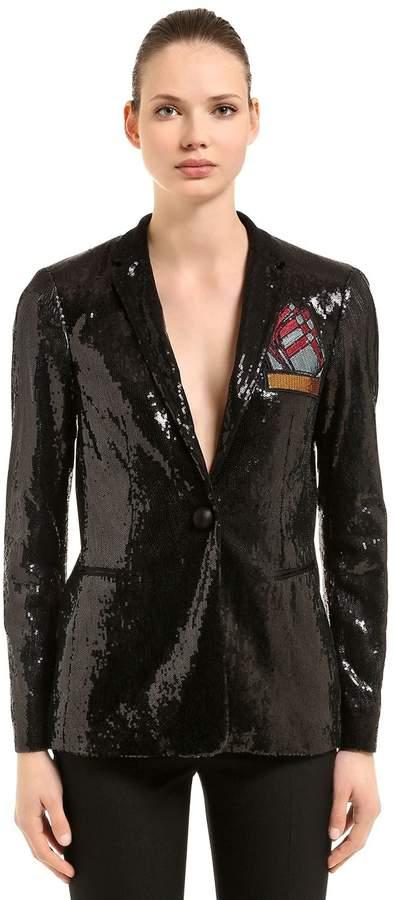 Marco De Vincenzo Sequined Blazer W/ Pocket Patch