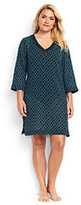 Lands' End Women's Plus Size Embroidered Woven Tunic Cover-up-Black/Scuba Blue Star Geo