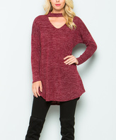 Sweet Pea Burgundy Choker-Cutout Tunic