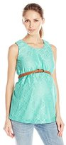 Three Seasons Maternity Women's Maternity Sl Crochet Belted Solid Top