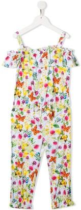 Miss Blumarine Floral-Print Ruffled Jumpsuit