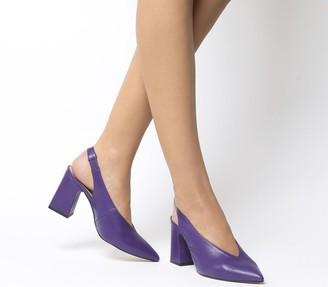 Office Mimi Chunky Slingback Heels Purple Leather