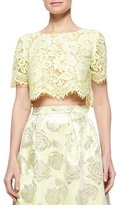 Erin Fetherston Short-Sleeve Lace Crop Top, Lemongrass