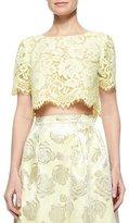 Erin Fetherston Short-Sleeve Lace Crop Top, Lemongrass