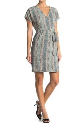 Bobeau Short Sleeve Faux Wrap Dress
