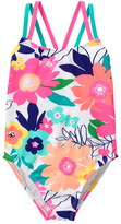 Gymboree White & Deep Pink Floral Cross-Back One-Piece - Girls