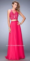 La Femme Sheer Illusion Two Piece Prom Dress