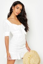 boohoo Knot Front Broderie Anglais Mini Dress