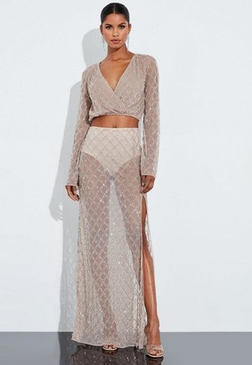Missguided Nude Silver Drop Pearl Embellished Drape Maxi Skirt