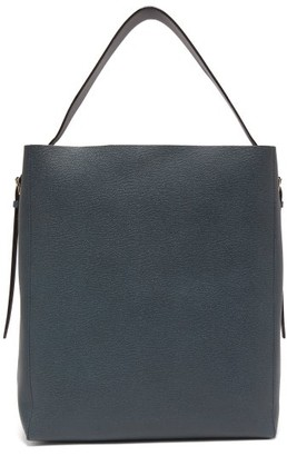 Valextra Adjustable-strap Grained-leather Tote Bag - Navy