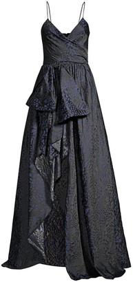 Flor Et. Al Dorothy Leopard Print Jacquard Gown