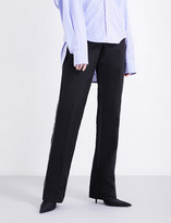 Balenciaga Piped straight mid-rise woven trousers