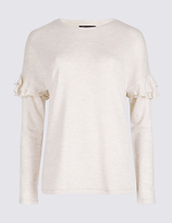 M&S Collection Round Neck Frill Sleeve Sweatshirt