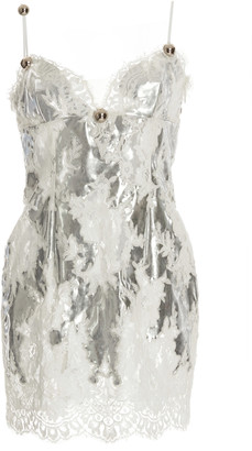 Christopher Kane Foiled Lace Mini Dress
