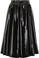 MSGM Vinyl Pleated Midi Skirt