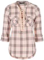 Jane Norman Lace Up Check Shirt