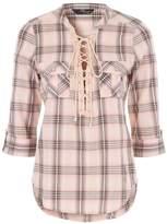 Jane Norman Lace Up Check Shirt