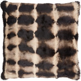 Adrienne Landau Optical-Print Rabbit Fur Pillow