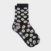 Paul Smith Women's Black 'Sea Aster' Floral Pattern Socks