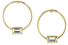 2028 14K Gold Dipped Rectangle Crystal Hoop Stainless Steel Post Small Earrings