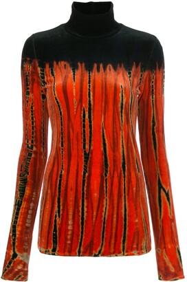 Proenza Schouler Tie-Dye Velvet Turtleneck Top