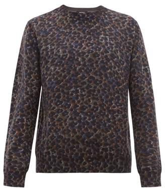 A.P.C. Fauve Leopard Print Cotton Blend Sweater - Mens - Grey