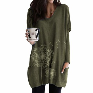 KPILP Long Sleeve Tops for Womens Solid Color V Neck Casual Fashion Blouse Ladies Tunic Tops Dandelion Print Maxi Tops Dress Shirt Pullover Tee with Pocket(Army Green 5XL)