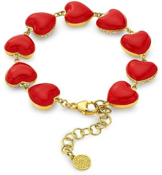BUDDHA MAMA 20kt Yellow Gold Diamond Heart Charm Bracelet