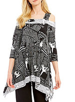 IC Collection Newspaper Print Off-The-Shoulder Tunic