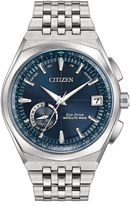 Citizen Eco Drive Men's Silver Tone And Blue Satellite Wave World Time Gps Bracelet Watch CC3020-57L
