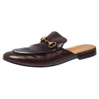 Gucci Jordaan Brown Leather Flats