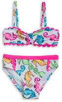 Flapdoodles Girls 2-6x Seahorse Bikini Swimsuit Set