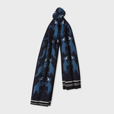 Paul Smith Men's Navy 'Dino' Pattern Wool Scarf