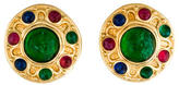 Christian Dior Glass Cabochon Disc Clip-On Earrings