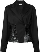 Thierry Mugler leather insert blazer - women - Lamb Skin/Virgin Wool - 38