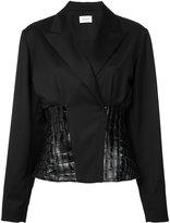 Thierry Mugler leather insert blazer - women - Virgin Wool/Lamb Skin - 38