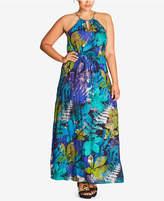 City Chic Trendy Plus Size Printed Halter Maxi Dress