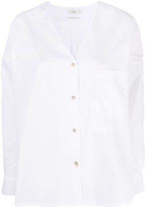 Closed V-neck button-up shirt