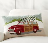 Pottery Barn Woody Car Crewel Embroidered Lumbar Pillow Cover