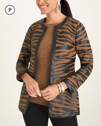 Travelers Collection Petite Striped Mesh Jacket